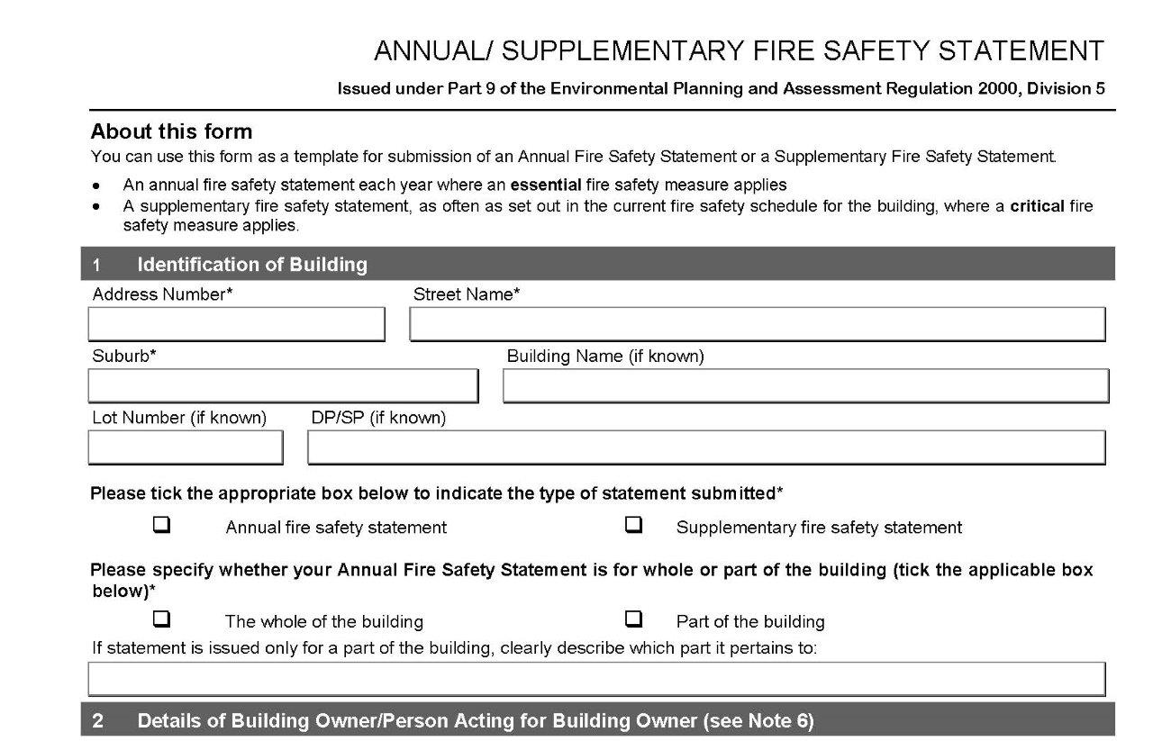 Fire Safety Statements – Safety Statement Template